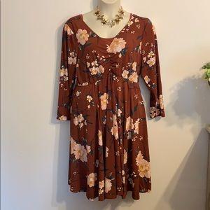 Torrid brown floral long sleeve dress NWT